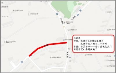 请注意:下周一江滨路东段全封闭改造交通管制