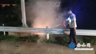 昨晚沪蓉高速河阳收费站发生一起货车起火事件