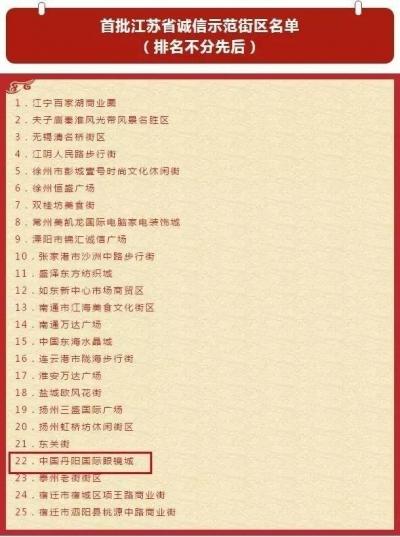 丹阳眼镜城入榜首批江苏省诚信示范街区名单