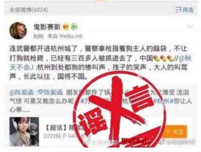 杭州4天受理办狗证11106件,2人因发布谣言被警方查处