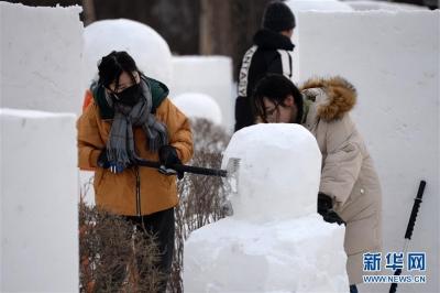 松花江畔开建冰雪景观