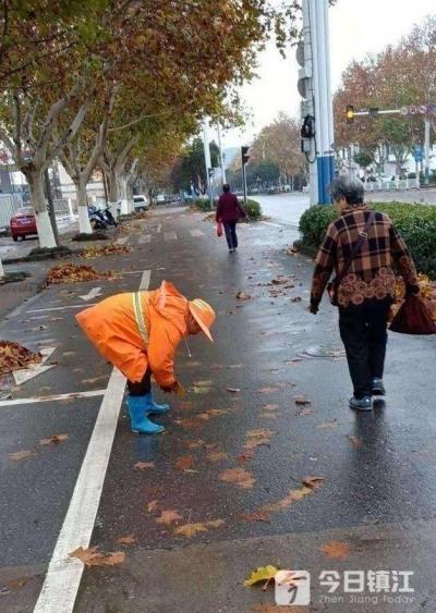 环卫工雨天手捡难以清理的落叶 网友:你弯腰的瞬间,最美!