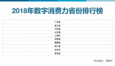 2018年江苏数字消费力排名全国第三