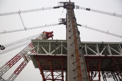 镇江长江大桥南岸边跨钢梁架设完成