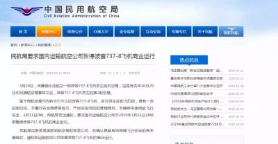 11日18时前国内暂停波音737-8飞机的商业运行 遇难中国公民身份初步确认