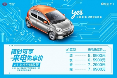 """来""""电""""先享价5.99万起 比亚迪e系列纯电动e1低碳上市"""