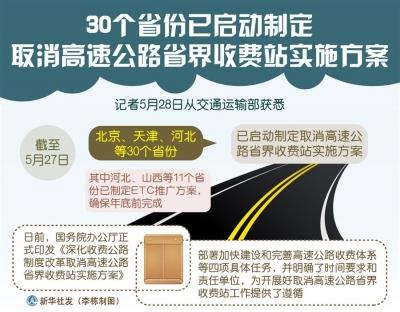 30个省份已启动制定取消高速公路省界收费站实施方案
