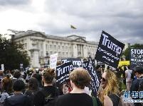英国民众抗议特朗普访英