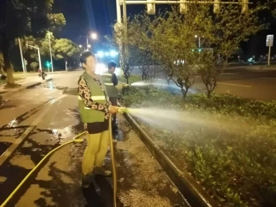 高温下的坚守:从深夜到白昼,绿化养护工人用汗水浇灌城市绿色
