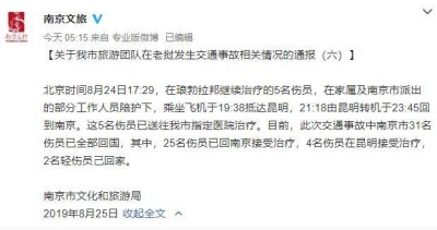 南京旅游团老挝车祸最新情况通报:31名伤员已全部回国