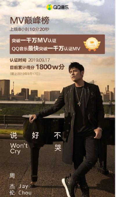 周杰伦新歌《说好不哭》成QQ音乐历史销售额最高数字单曲