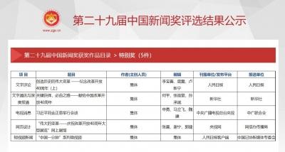 中国记协公示第二十九届中国新闻奖评选结果