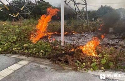 惊险!高压电塔下突然起火 巡逻民警及时处置化险情