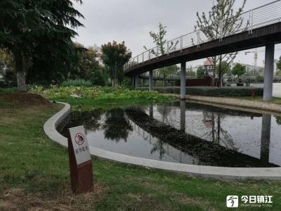 令人担忧!镇江市海绵公园临近儿童游乐设施的池塘缺护栏存隐患