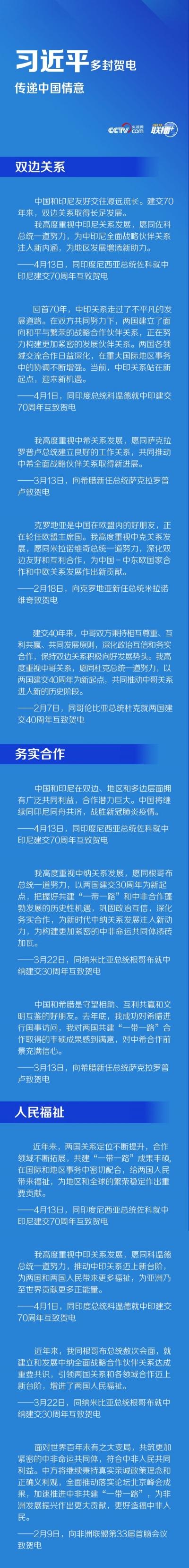 联播+丨习近平多封贺电传递中国情意