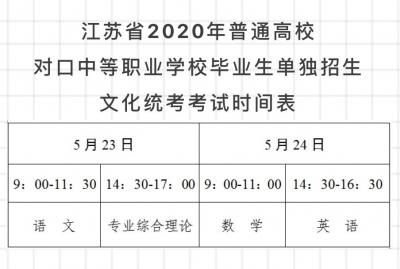 江苏省2020年普通高校对口单招文化统考本周末开考
