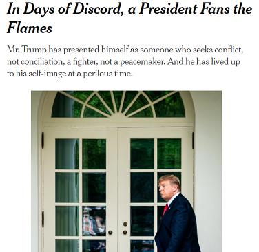 《纽约时报》发表文章《在纷乱的日子,总统煽动火焰》 严词抨击特朗普正在让美国走向分裂