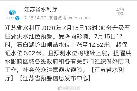 江苏连发5条洪水预警信息