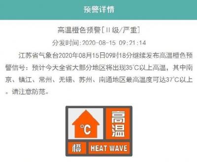 高温橙色预警!江苏这些地方今天最高温度可达37℃以上
