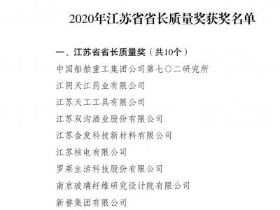 镇江再添一家江苏省省长质量奖企业