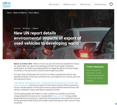 联合国环境署:从欧美日出口的二手车多是污染型车辆 质量低劣