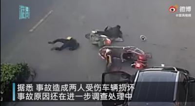 江苏一司机一次开门连续放倒两辆电动车:两人受伤车辆损坏