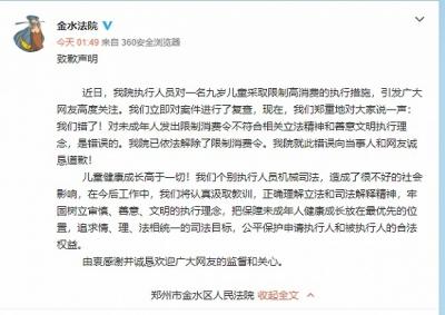 对9岁儿童采取限制高消费,郑州金水法院致歉