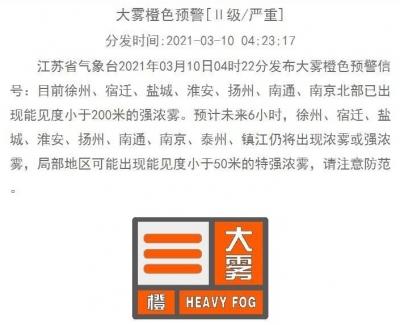 大霧警報!今晨長江以北大部分地區有霧,出行注意安全