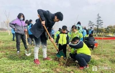 """社区联合组织开展  """"植绿树党建引领,护环境企业共建""""活动"""